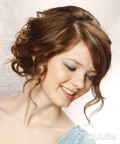 Вечерняя прическа на круглое лицо средние волосы