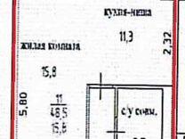 1-к. квартира, 48,5 м²,4/4 эт.