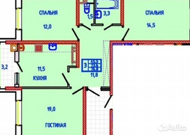 Продается трехкомнатная квартира за 3 200 000 рублей. улица Тухачевского, 27.