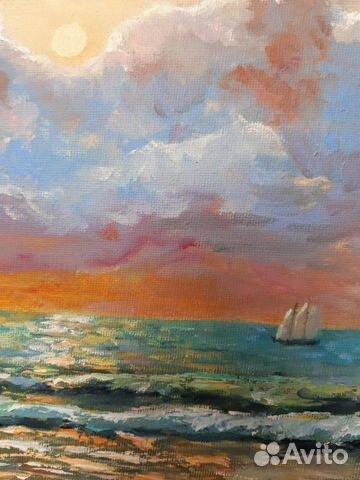 Картина Море. Тучи. Холст на картоне/масло, 30х4 89179297230 купить 3