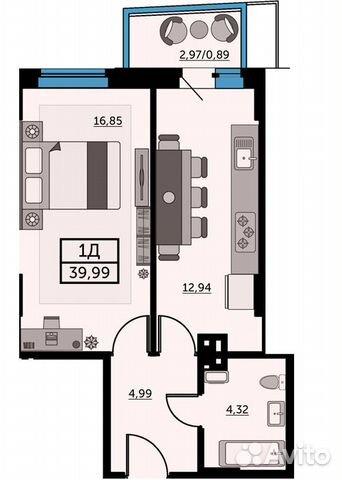 1-к квартира, 39.6 м², 16/26 эт. купить 1