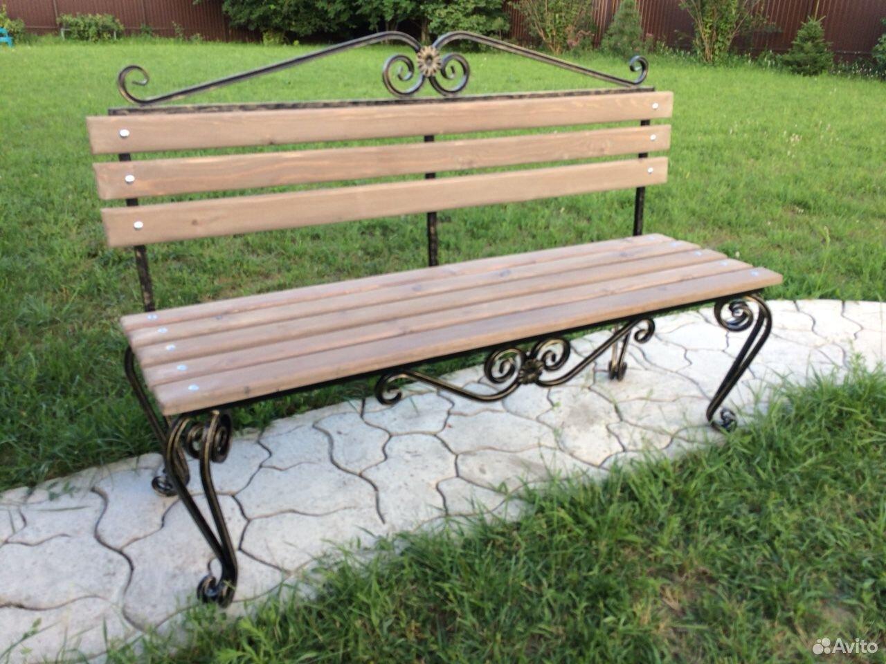 Скамейка садовая лавочка с элементами ковки  89231448101 купить 2