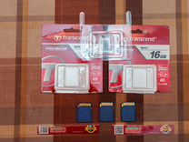 3 карты памяти Transcend Premium 16Gb Sdhc Class10