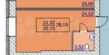 Своб. планировка, 27.8 м², 6/16 эт.  89824904463 купить 3