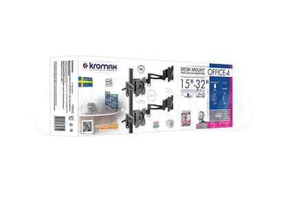 Кронштейн для мониторов настольный kromax office-4 Диагональ экрана (см):38-81 Нагрузка (кг):4 x 8