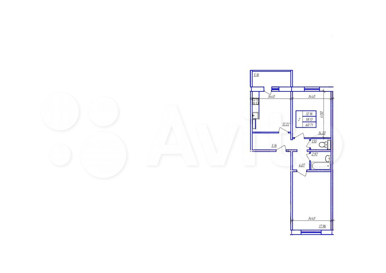 2-к квартира, 60.7 м², 3/10 эт. 89272701033 купить 1