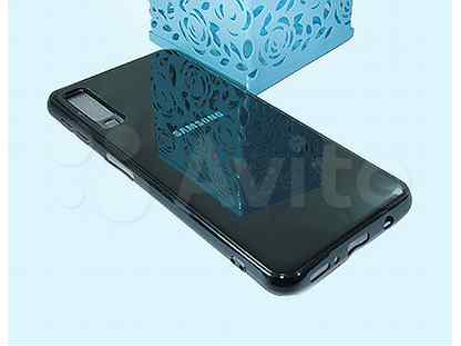 Чехол-накладка для Samsung A750F A7 2018 electroplated TPU+PET черный