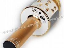 Микрофон с караоке wster WS-858 золотой